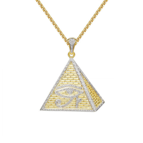 18K Gold Pyramid Eye of Ra Pendant