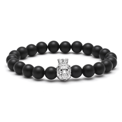 18K White Gold Lion Beaded Bracelet