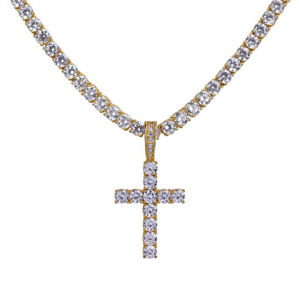 18K Gold Diamond Cross + 4mm Tennis Necklace