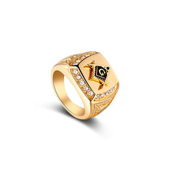 18K Gold Diamond Freemason Ring