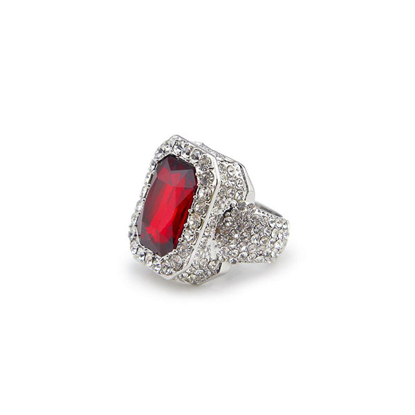 18K White Gold Red Gem Opuline Ring