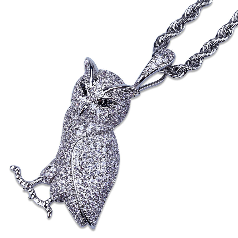24K White Gold Owl Necklace