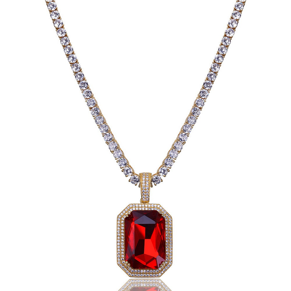 18K Gold Blood Ruby + 3mm Tennis Necklace