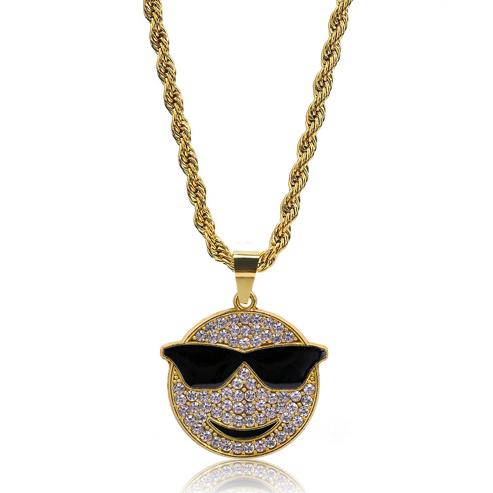 18K Gold Smiley Shades Pendant