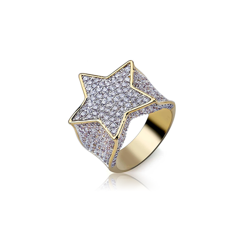 18K Gold Diamond Star Ring
