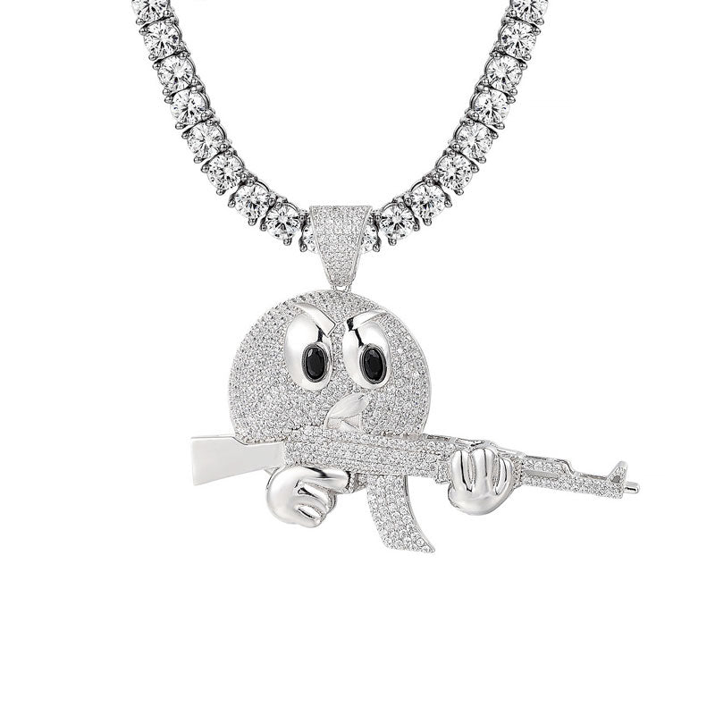 14K White Gold Drunk Emoji Pendant + 4mm Round Cut Tennis Necklace Set