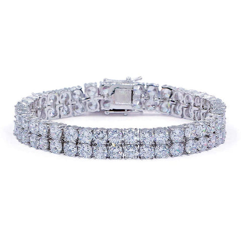 24K White Gold 10mm Double Row Tennis Bracelet