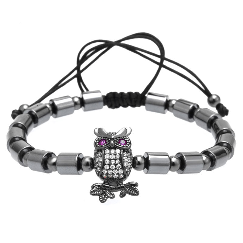 Black Diamond Owl Bracelet