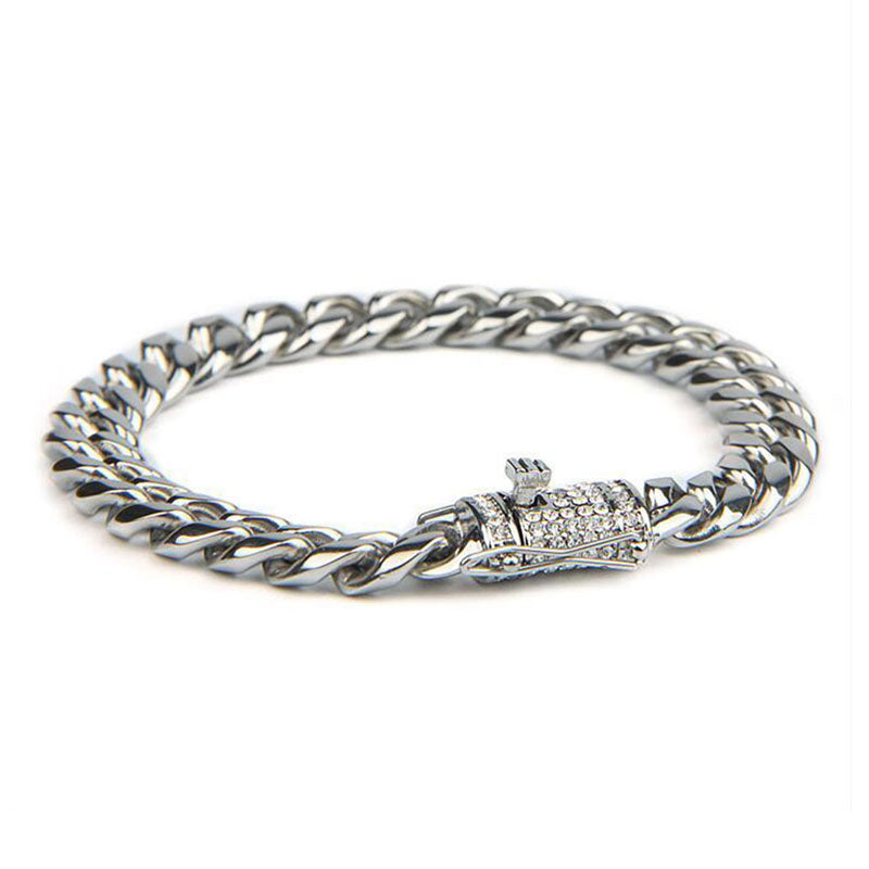 24K White Gold Cuban Bracelet