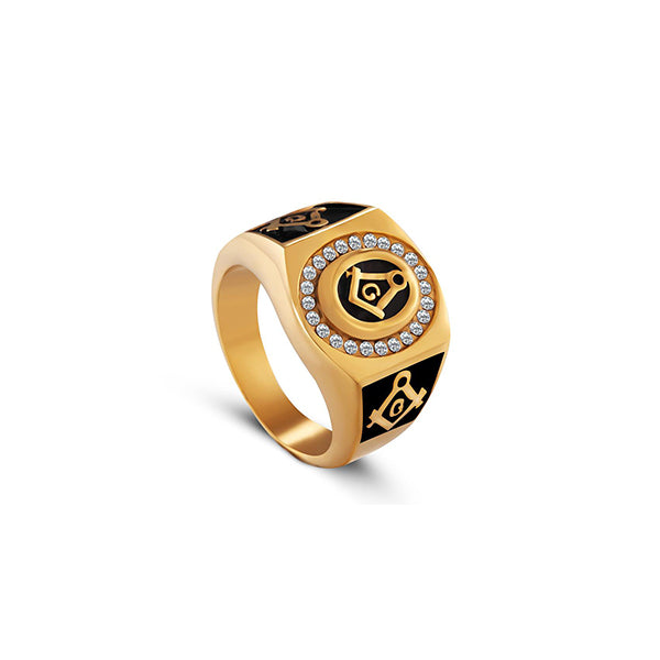 18K Gold Freemason Diamond Ring