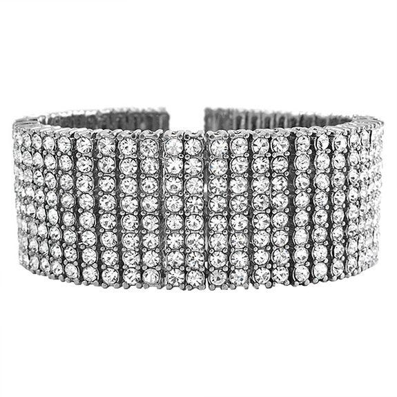 Fully Iced Out Bracelet Silver/ 18K White Gold Plated / 19CM / CZ Diamonds