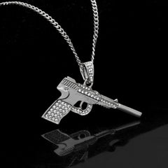 14K White Gold Gun With Demper Necklace