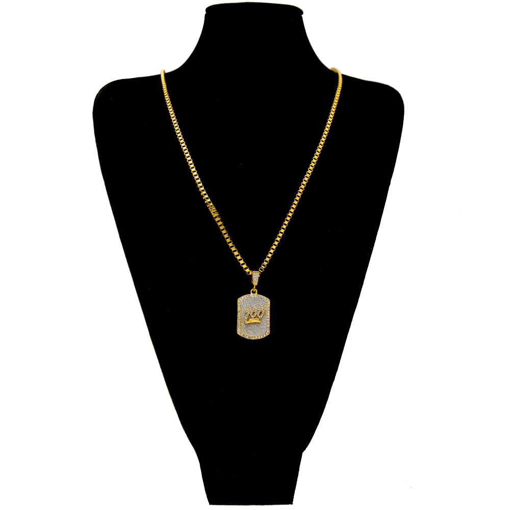 18K Gold Keep it 100 Tag Pendant