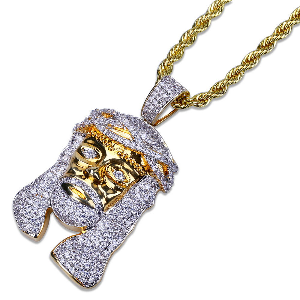 18K Gold Iced Out Jesus Piece Pendant