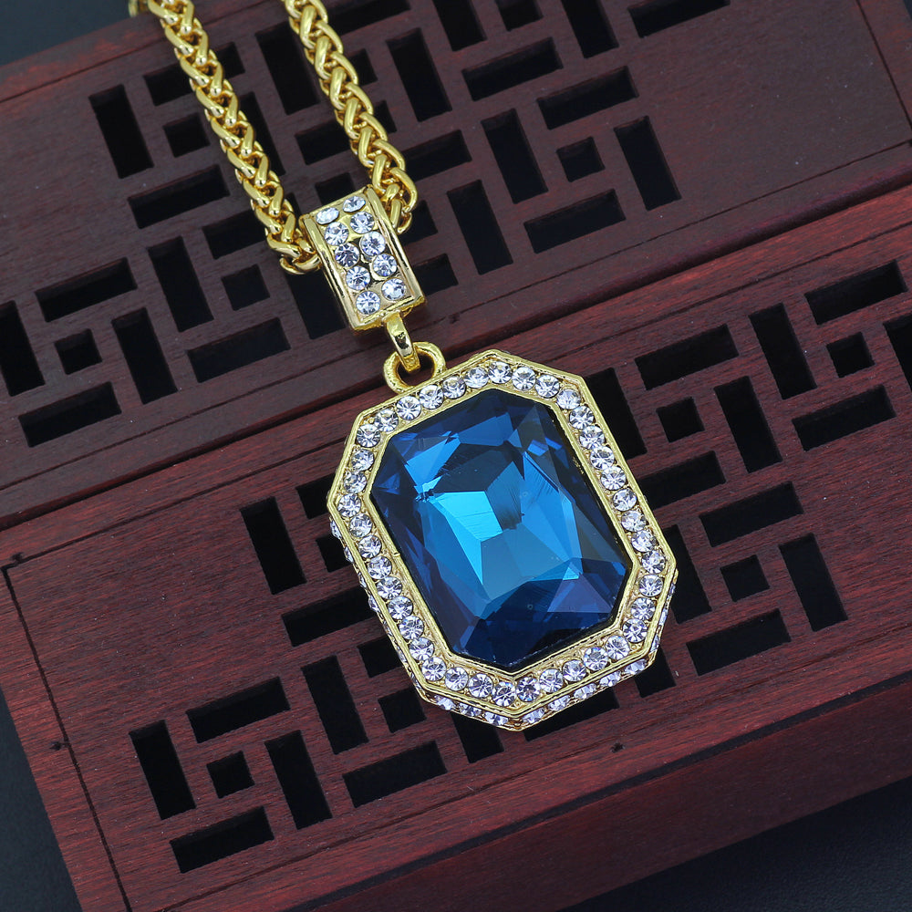 Sapphire Gem Stone Iced out Necklace ( Multiple Colors )