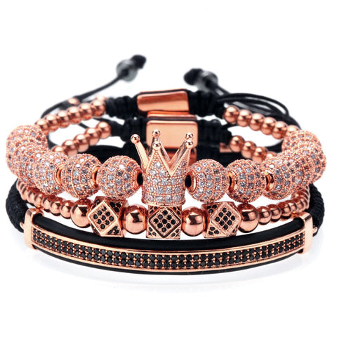 18K Rose Diamond Crown Bracelet Combo Set - 3 PCS