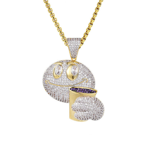 18K Gold Emoji with Lean Pendant
