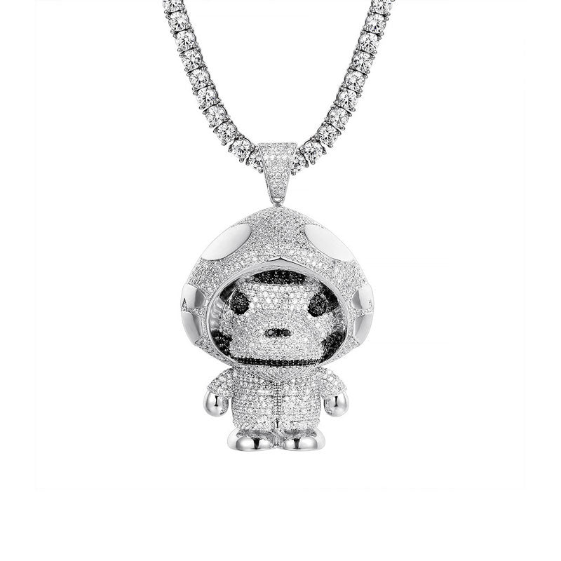 18K White Gold Ape Hoodie + 4mm Round Cut Tennis Necklace Set