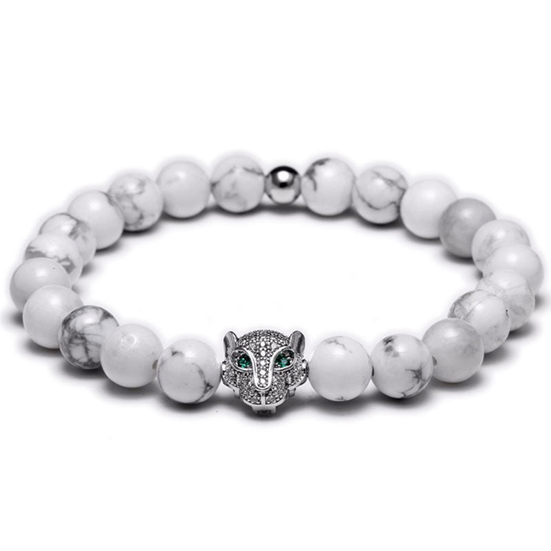 18K White Gold Diamond Tiger Beaded Bracelet