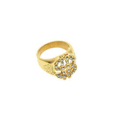 18K Gold Diamond Dollar Ring