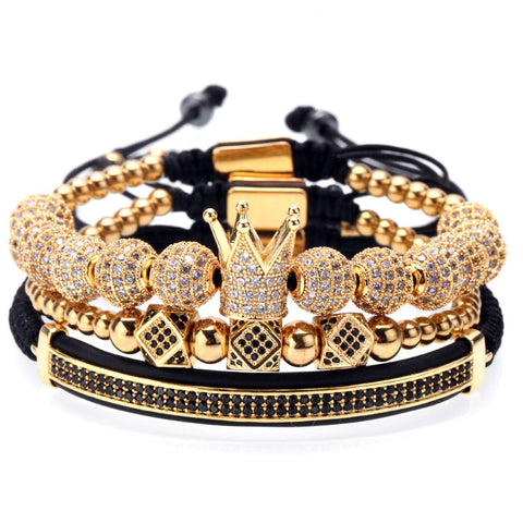 18K Gold Diamond Crown Bracelet Combo Set - 3 PCS