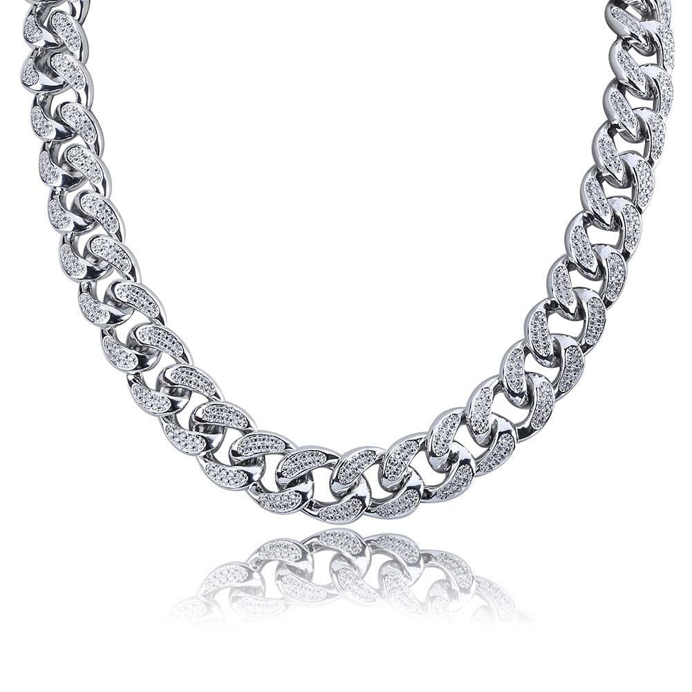 Diamond Cuban Link (12mm) 14K White Gold