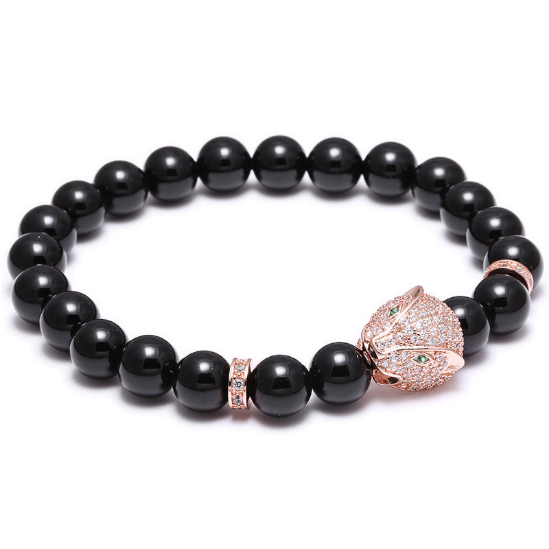 18K Rose Gold Diamond Cat Beaded Bracelet