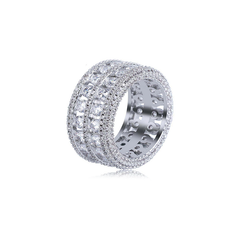 18K White Gold Diamond Sapphero Ring