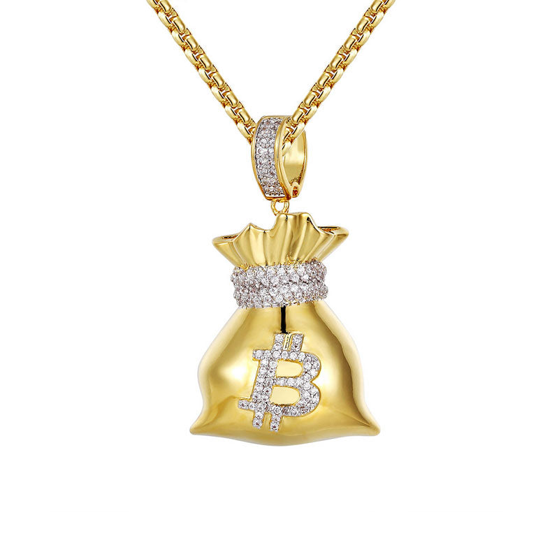 18K Gold Bitcoin Bag Pendant