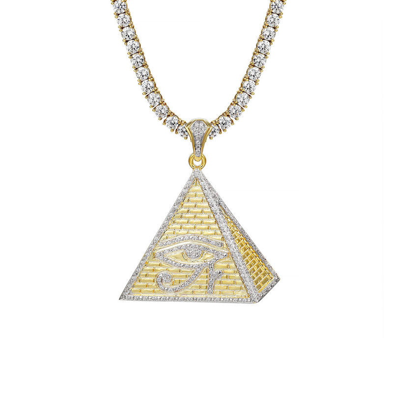 18K Gold Pyramid Eye of Ra + 4mm Round Cut Tennis Necklace Set