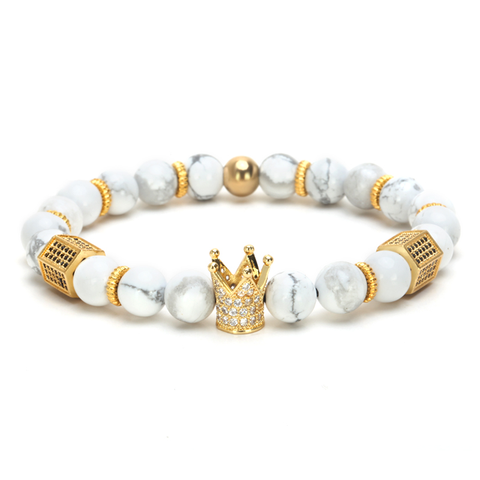 18K Gold Diamond Royal Crown Bracelet ( White Stones )