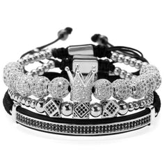 18K White Gold Diamond Crown Bracelet Combo Set - 3 PCS