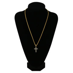 18K Gold Diamond Cross Necklace