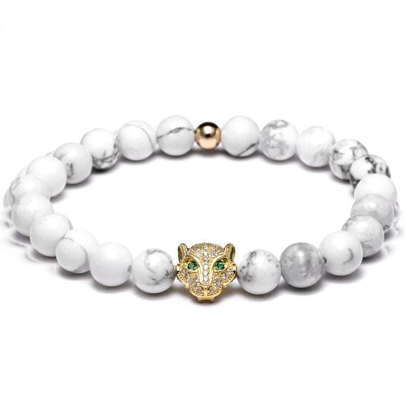 18K Gold Diamond Tiger Beaded Bracelet