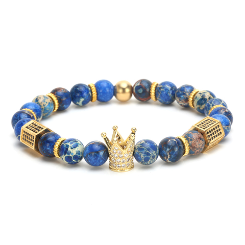 18K Gold Diamond Royal Crown Braclet ( Blue Stones )