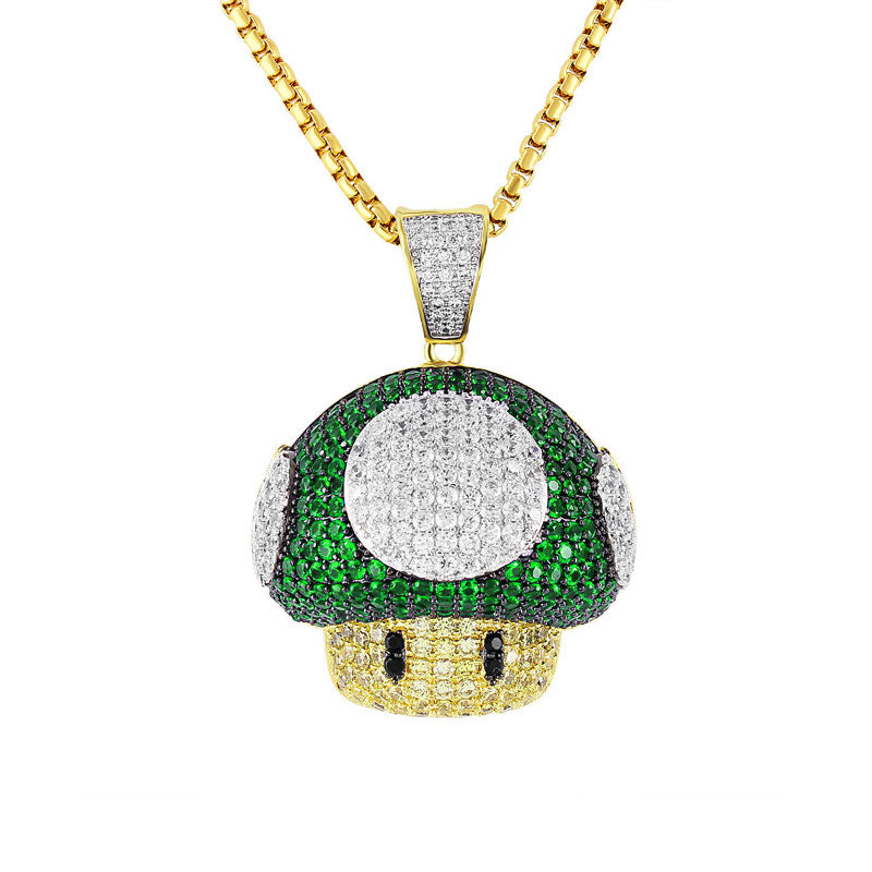 18k Gold Plated Green Mushroom Necklace!