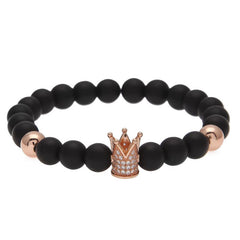 18K Rose Gold Diamond Royal Crown Beaded Bracelet