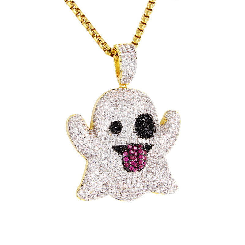 18K Gold Diamond Ghost Emoji Pendant