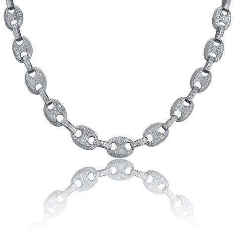 Iced Palm Link Necklace 14K White Gold