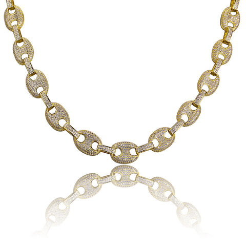 Iced Palm Link Necklace 18K Gold