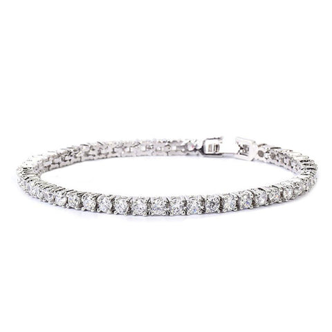 24K White Gold Plated 3MM Tennis Bracelet