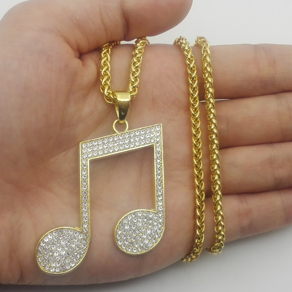 Music Note Iced Out Necklace