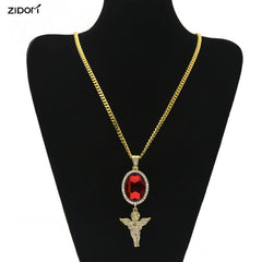 Gem Sapphire  Angle Iced Out Red Necklace