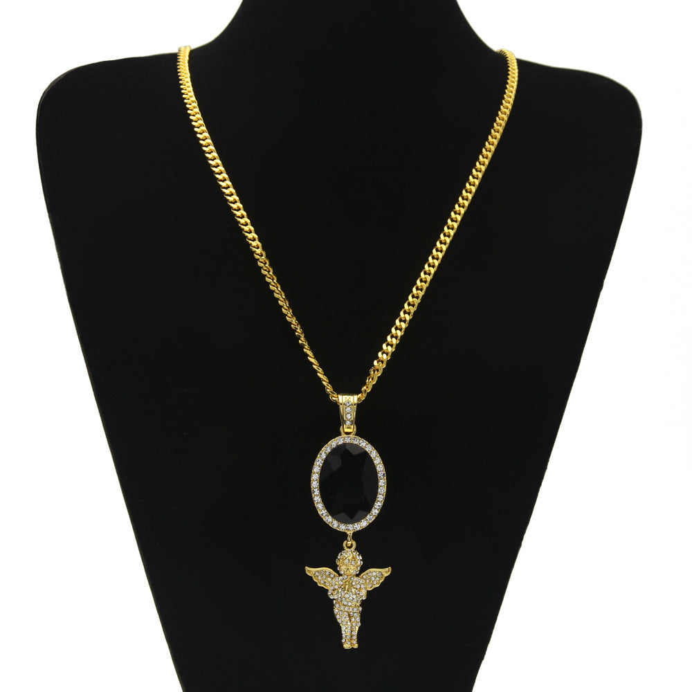 Gem Sapphire  Angle Iced Out Black Necklace