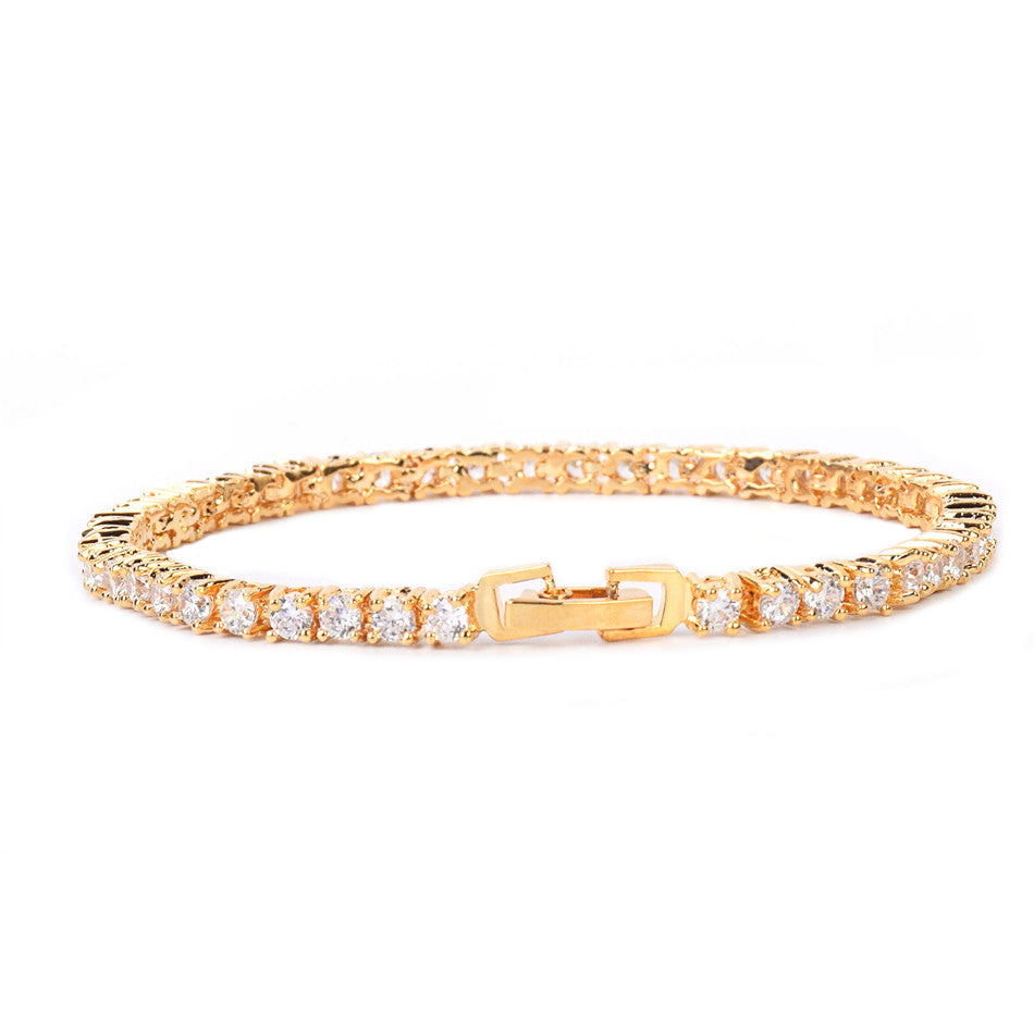 24K Gold 3mm Tennis Bracelet