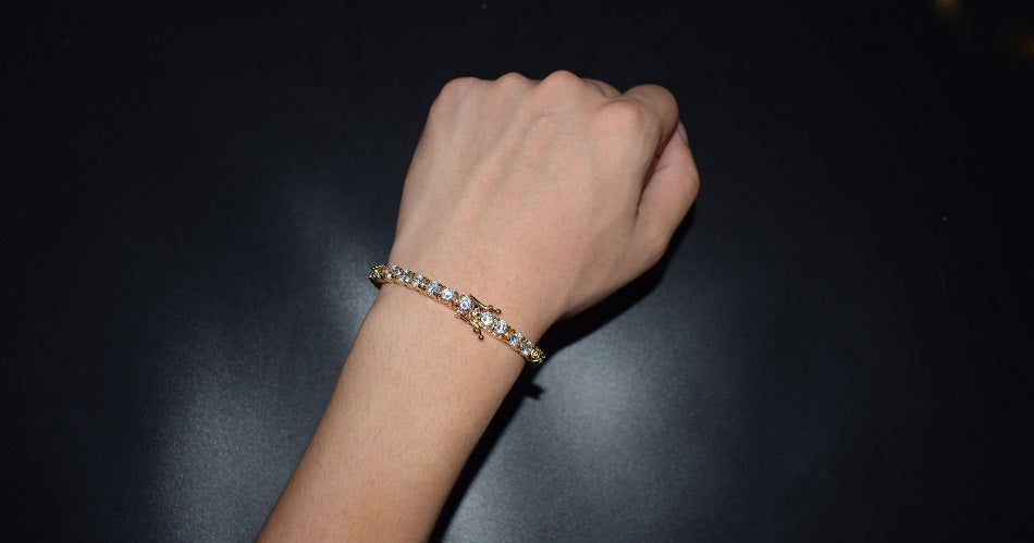 Tennis Bracelet Gold / 24K Gold Plated / CZ Diamonds / 3-6mm/ 7inch & 8 inch /
