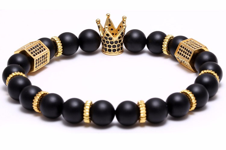 18K Gold Diamond Royal Crown Bracelet ( Black Stones )