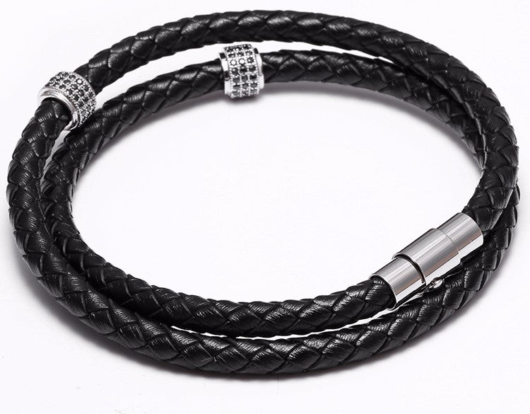 18K White Gold Leather Bracelet Combo