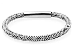18K White Gold Metallic Leather Luxury Bracelet