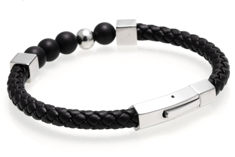 18K White Gold Leather Bracelet